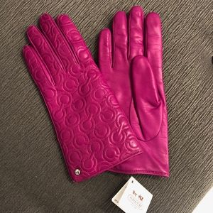 Coach Quilted Leather Purple Cashmere Logo Gloves